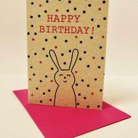 Birthday bunny - mini greetings card