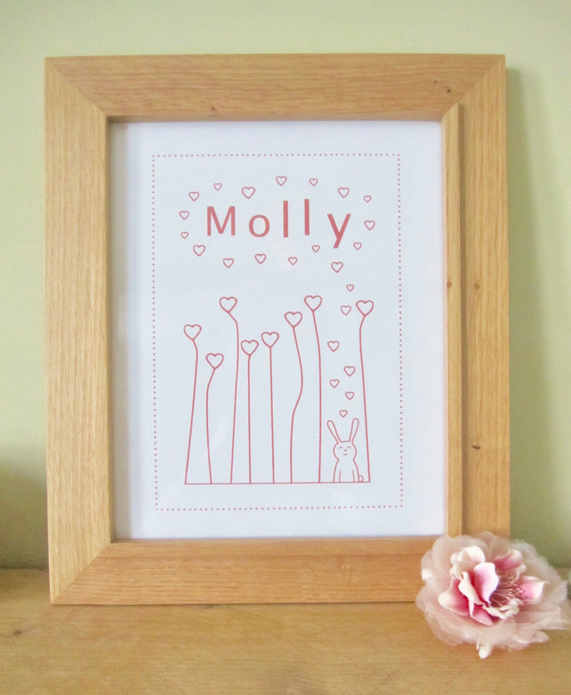 Personalised bunny baby name print