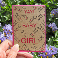 Girl baby bunny - new baby mini greetings card