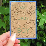Boy baby bunny- new baby mini greetings card