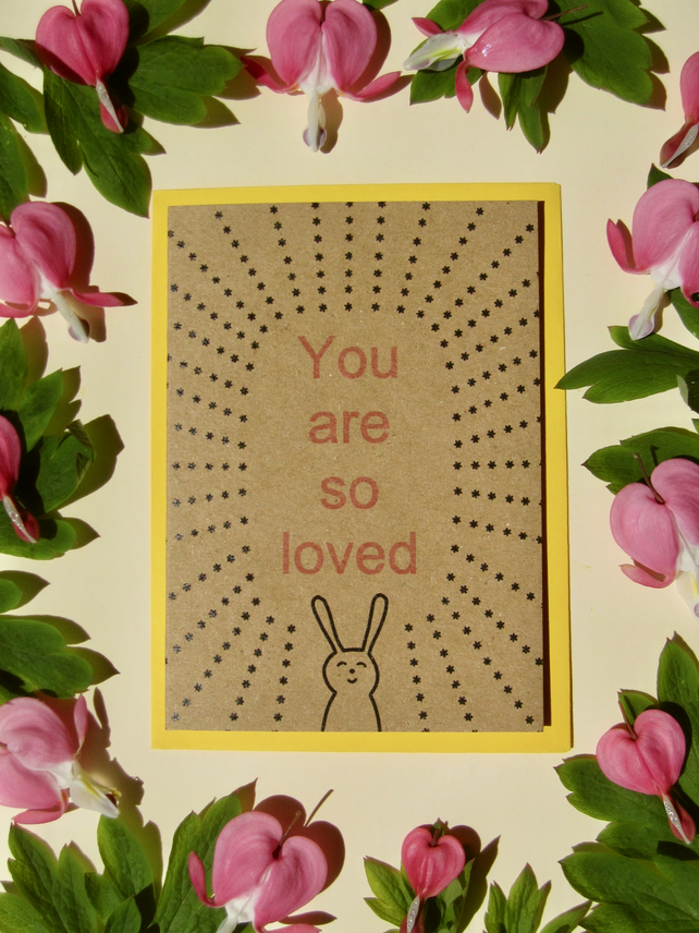 So loved bunny- mini greetings card