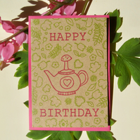 Birthday botanical teapot - mini greetings cards