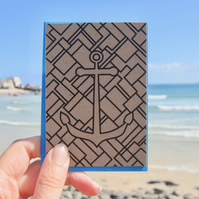 Anchors aweigh! mini greetings card in black or white