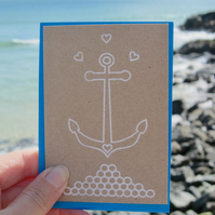 Anchor me down - mini greetings card in black or white
