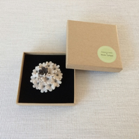 Textile Round Flower Brooch - Oatmeal & Chocolate