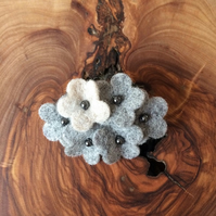 Textile Oval Daisy Brooch - Grey Contrast
