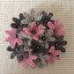 Pink and Grey Floral Brooch
