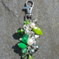 OOAK green beaded bag charm