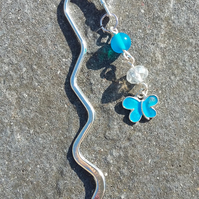 Blue butterfly bookmark