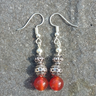 Carnelian and tibetan silver earrings