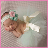 Newborn Mint Green tutu skirt with headband