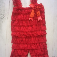 Baby Red lace romper,baby grow,petti romper,ruffle romper,summer outfit