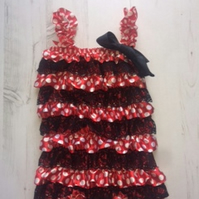 Red and Black Ruffled romper,summer outfit,petti babygrow