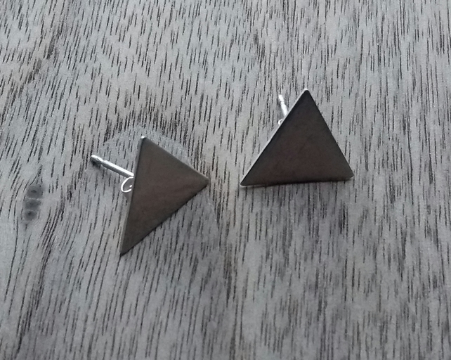 Hand Made Triangle Shaped Sterling Silver Stud Earrings in A Gift Box