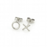 Sterling Silver Hug and Kiss X O Geometric Stud Earrings A Gift Box is Included