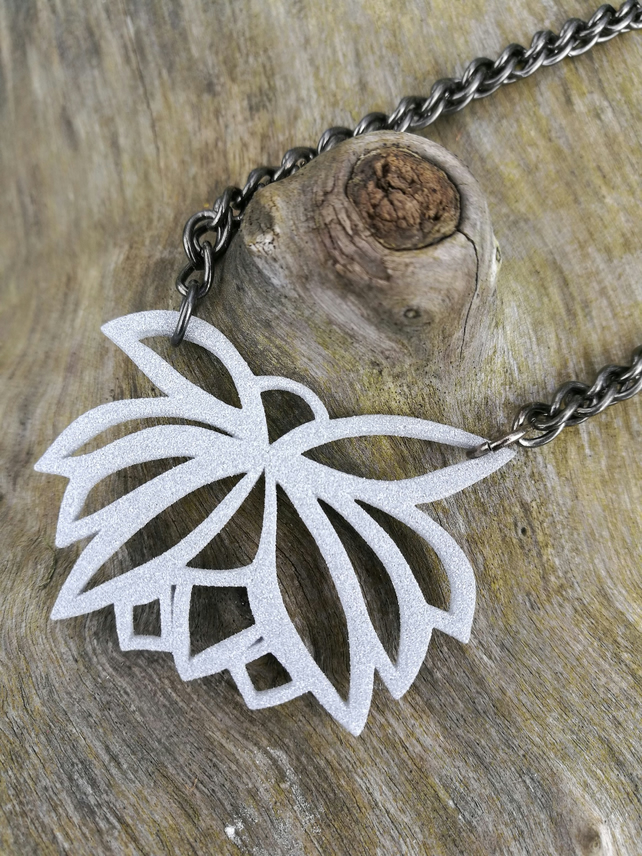 Metallic Grey 3D Printed Lotus Flower Necklace, with Black Brass Chain