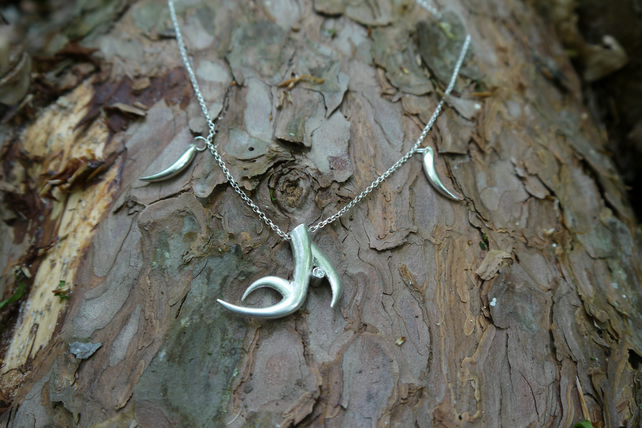 Sterling Silver antler and tusk necklace with CZ stones