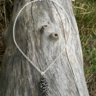 Forest Pine Cone Necklace, cast in Sterling Silver, with CZ stone.