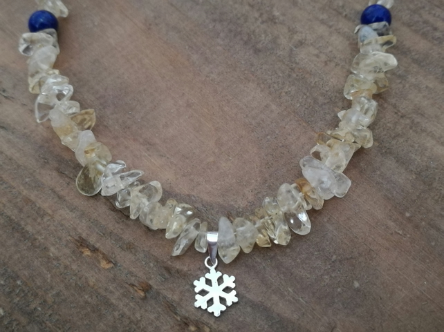 Lemon Citrine and Lapis lazuli necklace, with sterling silver chain.