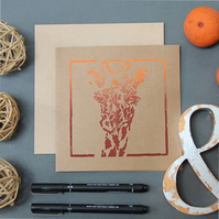 MC14812K Giraffe Duo-Tone Block Print Image Greetings Card