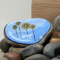 MP0405 - YELLOW FLOWERS on a blue wave - Hand Painted Pebble - Paperweight.