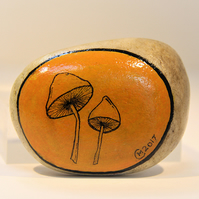 MP0402 - MUSHROOMS on orange - Hand Painted Pebble - Paperweight.