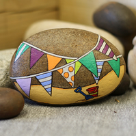 MP0409 - BUNTING at the seaside - Hand Painted Pebble - Paperweight.