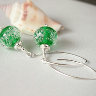 Green Bubbles Lampwork Glass Bead Earrings - Sterling Silver