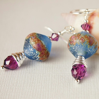 Sapphire Blue Etched Lampwork Earrings, Amethyst, Sterling Silver
