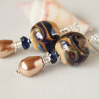 Silvered Glass Lampwork Earrings, Blue, Bronze, Sterling Silver