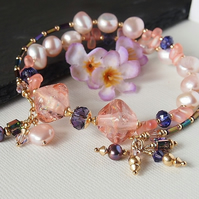 Pink Peach Memory Wire Bracelet, Freshwater Peach, Lampwork, Gold Filled