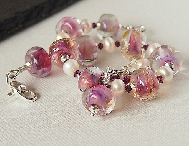 Pink Lampwork and Freshwater Pearl Beaded Bracelet, Sterling Silver