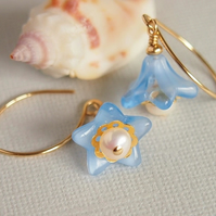 Blue Glass Flower Earrings, Freshwater Pearls,14kt Gold Filled