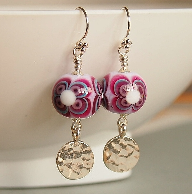Retro Flower Earrings, Artisan Lampwork, Pink Crimson, Sterling Silver