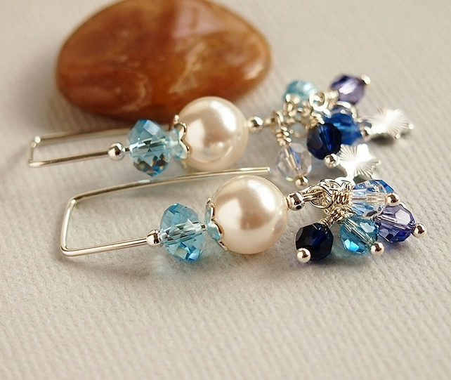 Blue Crystal Earrings, Thread Earrings, Pearls, White, Sterling Silver