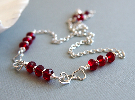 Red Glass Bead Necklace, Hearts, Swarovski, Sterling Silver Chain