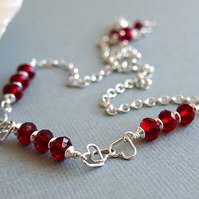 Red Swarovski Crystal Sterling Silver Heart Chain Necklace