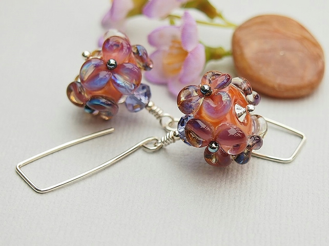 Floral Earrings, Lampwork Glass, Salmon Pink, Violet, Sterling Silver