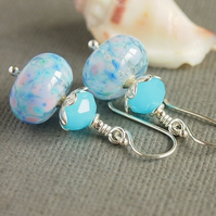 Blue Pink Aqua Artisan Lampwork Glass Bead Earrings, Sterling Silver