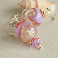Violet Crystal Glitter Lampwork Glass Bead Earrings, Copper, Sterling Silver