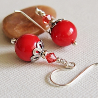 Red Coral Glass Pearl Beaded Earrings, Sterling Silver