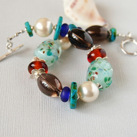 Multi Coloured Bracelet, Gemstone, Lampwork, Pearl, Ceramic, Sterling Silver