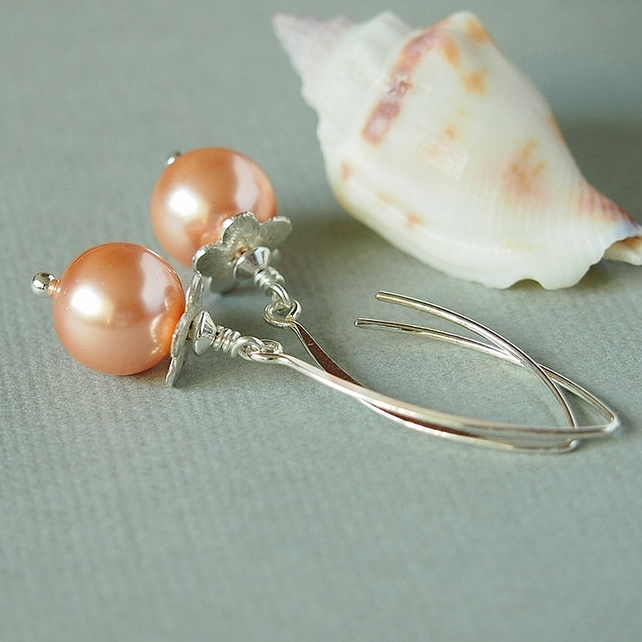Peach Glass Pearl Earrings, Sterling Silver