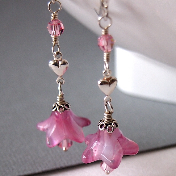 Pink Flower Glass Bead Earrings, Floral Earrings, Silver Heart, Sterling Silver