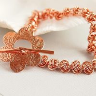 Pure Copper Chainmaille Bracelet With Handmade Flower Toggle Clasp