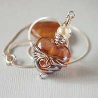 Peach Brown Heart Pendant - Lampwork Glass - Sterling Silver