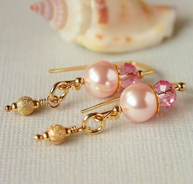 Rose Pink Crystal Pearl Earrings, 14kt Gold Filled