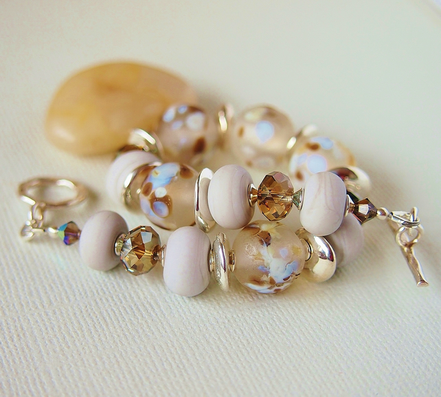 Soft Grey Lampwork and Crystal Bead Bracelet, Sterling Silver
