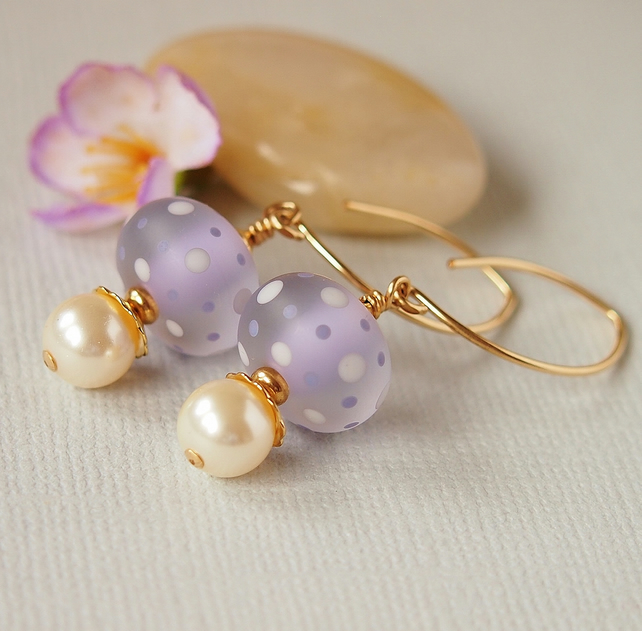 Lilac Ivory Spotted Lampwork Earrings, Glass Bead Earrings,14kt Gold Filled