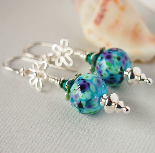 Turquoise Floral Lampwork Glass Beaded Earrings, Sterling Silver
